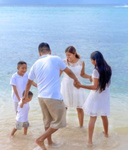 Family on a beach trip