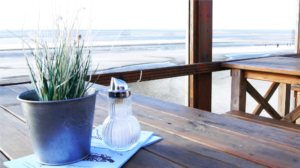 Beach view from a table.