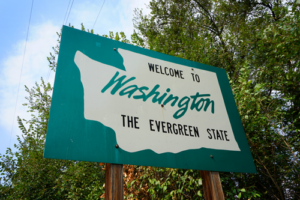 Welcome to Washington the Evergreen State street sign